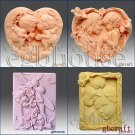 2D Soap silicone mold- Love - 4 pcs included