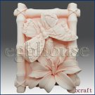 2D Silicone Soap Mold - Butterfly and Lily in Bamboo Frame