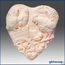 Silicone Soap Mold - Country Chickens on Farmyard Heart
