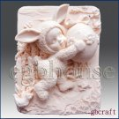 2D Silicone Soap Mold  - Kid dresses up in Bunny Costume holding decorated egg