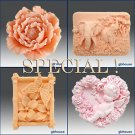 2D Soap silicone mold-Rare Peony,Elephant,Garden,Fairy