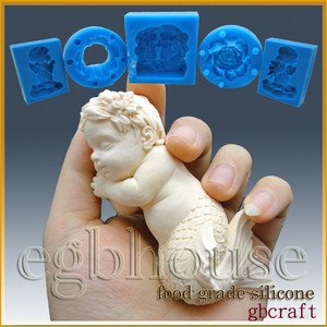 3D Silicone sugar/fondant/chocolate/soap Mold-Lifelike Baby Mermaid