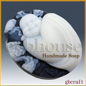 You are buying a soap-Smiling Robed Buddha handmade Scented Bamboo Charcoal soap
