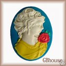 Romantic Lady - Silicone push mold polymer clay  Cameo