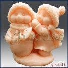 3D Silicone Soap/Candle Mold - Snowman takes care of friend (2 parts assembled)