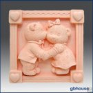Silicone Soap Mold  Teddy Bear Kiss