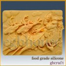 2D Chocolate / Food Grade Silicone Mold – Rudolph Pulling Santa in Sleigh