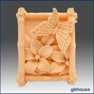 2D Silicone Soap Mold  Butterfly in Bamboo Frame