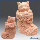 3D Soap and Candle Mold-  Kitten in Crochet Bootie