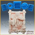2D Silicone sugar/fondant/chocolate Mold - Butterfly and Lily in Bamboo Frame