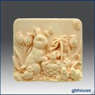 Missy's Garden & Bunny – 2D silicone Soap/polymer/clay/cold porcelain mold