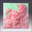 2D silicone Soap/polymer/clay mold –  Altair and Cintara- Unicorn Ponie