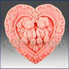 2D silicone Soap/polymer/clay/cold porcelain mold - Twin bears
