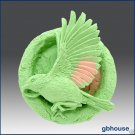 2D silicone Soap/polymer/clay/cold porcelain mold - Song bird in ring