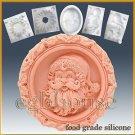 Santa Medallion - silicone Soap/sugar/fondant/chocolate/Marzipan 2D mold