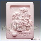 Mother holding her child in moonlight -Detail of high relief sculpture-Soap mold
