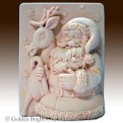 Snowflake Santa and Reindeer - 2D silicone Soap/polymer/clay/cold porcelain mold