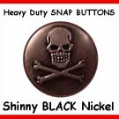 25 NICKEL Black SKULL Heads Only Leather SNAPFASTNERS