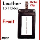 BLACK ~ Clip on ~ LEATHER ID HOLDER CARD POUCH WALLET