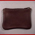 Made in USA - Quality Leather Brown Zippered Coin Purse