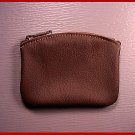 "Made in USA 5"" D.Brn Leather 2 pocket zipper coin purse"