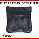 Blk FLAT Metal FRAME Leather COIN PURSE #CP3KR FreeShip