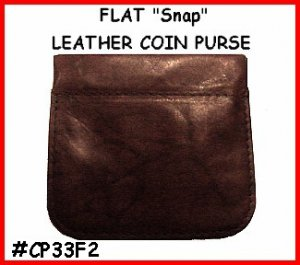 Dark Brown STRONG SNAP! FLAT Leather COIN PURSE Wallet