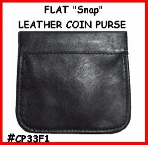 Blk STRONG SNAP! FLAT Leather COIN PURSE Pocket Wallet