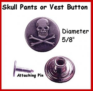 2 - MOTORCYCLE Skull Buttons For Leather PANTS or VEST
