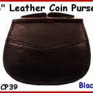 CP39 BLACK 2 pocket 3&quot; Frame LEATHER Change PURSE COIN