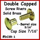 "6~¼"" BRASS Screw TOGETHER Double Capped Rivet Leather"