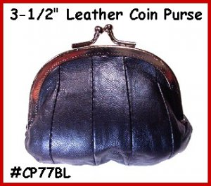 "Dark Blue Metal 3-1/2"" Frame LEATHER Change PURSE COIN"