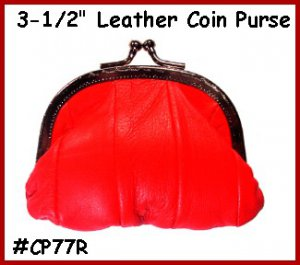 "RED Metal 3-1/2"" Frame LEATHER Change PURSE COIN"