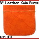 TAN - STRONG SNAP! FLAT Leather COIN PURSE Wallet