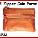 TAN ~ 2 Zipper COIN PURSE LEATHER ~ Coin wallet