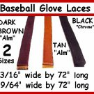 "2 BLACK BASEBALL GLOVE Repair Leather laces 3/16"" X 72"""