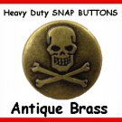 25 Antigue BRASS Skull Heads for Leather SNAP fastner
