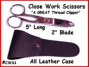 "Close Work 5"" SCISSOR Leather Case Cut Thread FREE Ship"