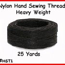 BLACK - Heavy Nylon, Hand Sewing Leather Thread