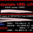 (2) SMALL LEATHER TOPPED Adjusting Heel Lift  Shoe Pad