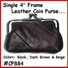 "4"" OLD FASHION Metal Frame LEATHER Change PURSE COIN"