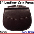 CP39 D.BRN 2 pocket 3&quot; Frame LEATHER Change PURSE COIN