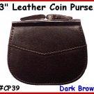 "CP39 D.BRN 2 pocket 3"" Frame LEATHER Change PURSE COIN"