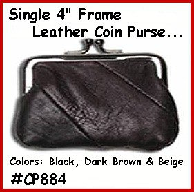 "4"" D.BROWN OLD FASHION Metal Frame LEATHER PURSE COIN"