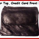 BLACK - Zipper top Credit Card flat leather Coin Purse