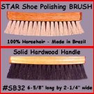 BLK 100% Horsehair Shine Polishing Brush for Shoes Boot