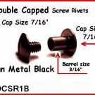 12- 3/8 Gun BLK Screw TOGETHER 2 Capped Rivets Leather