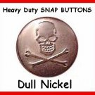 25 Dull Nickel Skull Heads  Leather SNAPS on Coats Vest