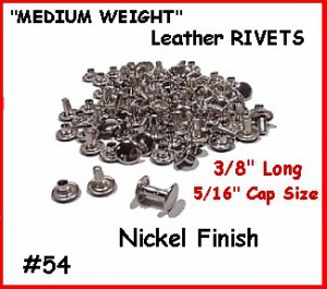 Quality! #54 Nickel RIVETS for LEATHER Belt Purse, Case
