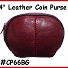 "BURGUNDY - Designers 4"" Zipper Top Leather Coin Purse"